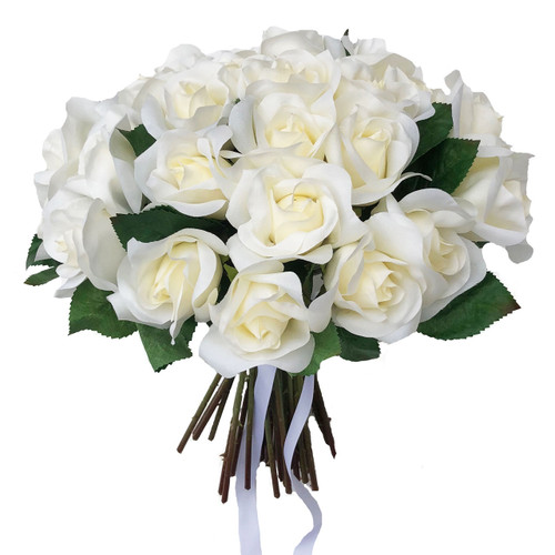 36 beautiful ivory rose faux flower stems and leaves gathered together with satin ribbons. Measuring 12 inches tall and 12 inches wide.