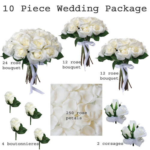 Save money by purchasing this beautiful 10 piece silk wedding flower package with matching ivory roses for every member of the bridal party.
