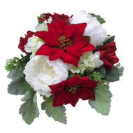 Gorgeous Poinsettia Peony & Rose silk flower bridal bouquet!