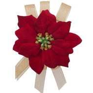High quality pin-on poinsettia corsage with organza ribbon accents. Suitable to attach to lapels, purses, dresses, coats, hats, etc for a lovely holiday pop of red color. Perfect for Christmas formal, holiday weddings and parties as well.  Extremely well made and a gorgeous rich red color!