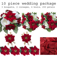 10 piece Christmas silk flower bridal bouquet package.