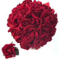 Bridal bouquet of 24 velvet red roses + 1 matching boutonniere
