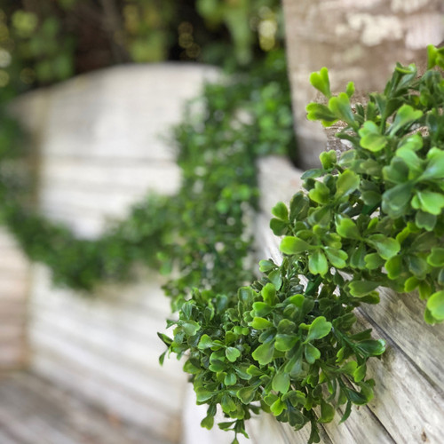 9 ft Boxwood Garland, Gorgeous faux boxwood greenery perfect decorating, swagging, draping everywhere! Beautiful backdrops and centerpieces!