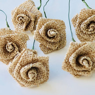 Burlap Natural Mini Rose Flower Stems- Rustic Wedding Favors - Gift Craft DIY- 1 inch wide mini rose stems