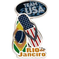 Rio de Janeiro 2016 Olympics Brazil / USA Flag Flip Flop Pin