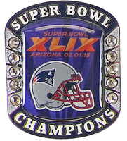 New England Patriots Super Bowl XLIX (49) Champions Pin - Champs Ring Style