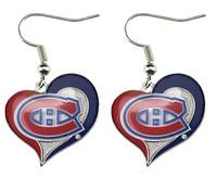 Montreal Canadiens Swirl Heart Earrings