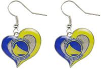 Golden State Warriors Swirl Heart Earrings
