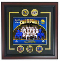 "Golden State Warriors 2015 NBA Champs Framed Photo Pin Set - 18"" x 18"""