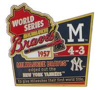 1957 World Series Commemorative Pin - Braves vs. Yankees