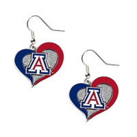 Arizona Wildcats Swirl Heart Earrings