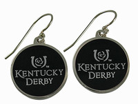 Kentucky Derby Black Oval Silver Earrings