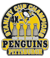 Pittsburgh Penguins 4-Time NHL Stanley Cup Champions Pin
