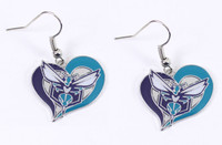 Charlotte Hornets Swirl Heart Earrings