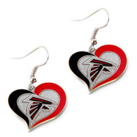 Atlanta Falcons Swirl Heart Earrings