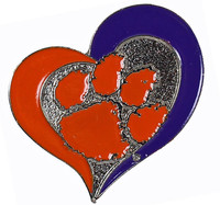 Clemson Tigers Swirl Heart Pin
