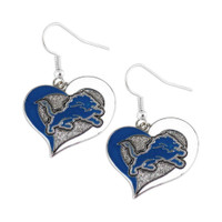 Detroit Lions Swirl Heart Earrings