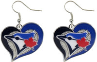 Toronto Blue Jays Swirl Heart Earrings