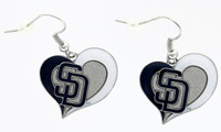 San Diego Padres Swirl Heart Earrings