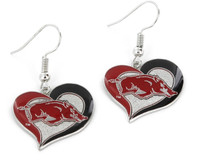 Arkansas Razorbacks Swirl Heart Earrings