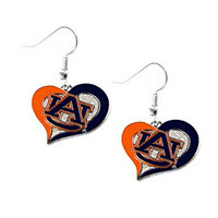 Auburn Tigers Swirl Heart Earrings