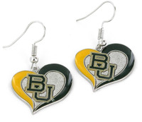 Baylor Bears Swirl Heart Earrings
