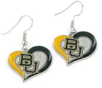 Baylor Bears Swirl Heart Earrings