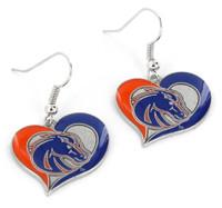 Boise State Swirl Heart Earrings