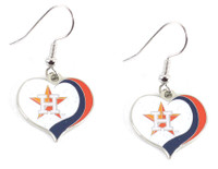 Houston Astros Glitter Heart Earrings