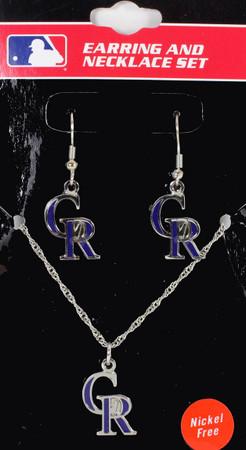 Colorado Rockies Earrings & Necklace Combo