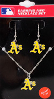 Oakland A's Earrings & Necklace Combo