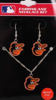 Baltimore Orioles Earrings & Necklace Combo