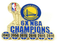 Golden State Warriors 6-Time NBA Champions Pin