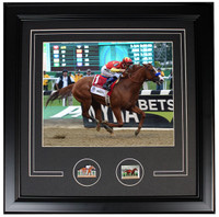"Justify 2018 Triple Crown Winner  -  Framed Pin Photo - 19"" x 15"""