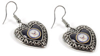 Navy Charmed Heart Earrings