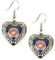 Marines Charmed Heart Earrings