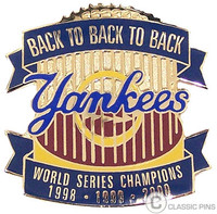 New York Yankees Back to Back to Back 2000 World Series Champs Pin