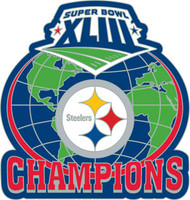 Super Bowl XLIII (43) Pittsburgh Steelers Champs Globe Pin