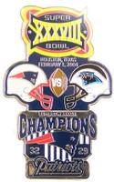 Super Bowl XXXVIII (38) Oversized Commemorative Pin