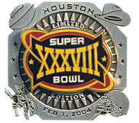 Super Bowl XXXVIII (38) Oversized Double Collector Pin - Limited 1,000