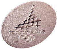 Torino 2006 Olympics Raised Logo Pin - #1