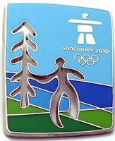 Vancouver 2010 Olympics Cut Out Tree Pin