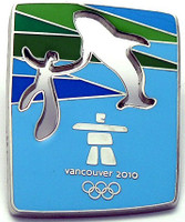 Vancouver 2010 Olympics Cut Out Whale Pin