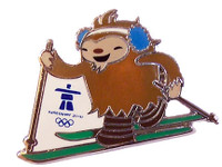 Vancouver 2010 Olympics Quatchi Cross Country Skiing Pin