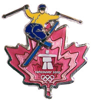 Vancouver 2010 Olympics Clear Red Leaf Skier Pin