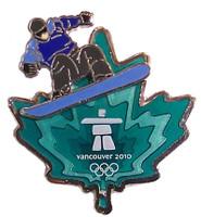 Vancouver 2010 Olympics Clear Aqua Leaf Snowboard Pin