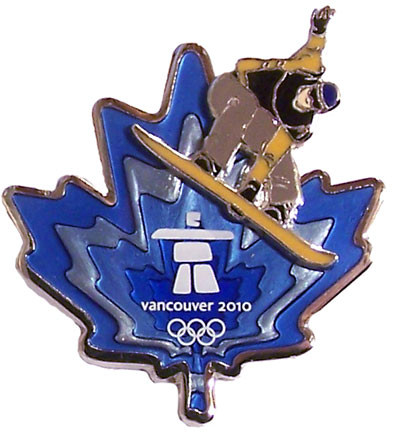 Vancouver 2010 Olympics Clear Blue Leaf Snowboard Pin