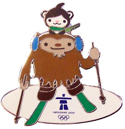 Vancouver 2010 Olympics Quatchi & Miga Biathlon Pin - Oversized