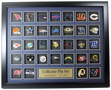 NFL Team Logo Collector Framed Pin Set - Limited Edition 1,000