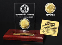 Alabama 14-Time National Champions Commemorative Gold Coin in Etched Acrylic Display